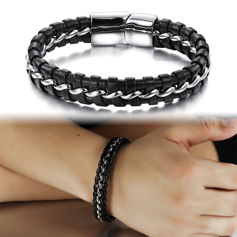 12mm Width Braided Leather Men Bracelets 316L Stainless Steel Charms Cuff Bangles Trendy Male Jewelry