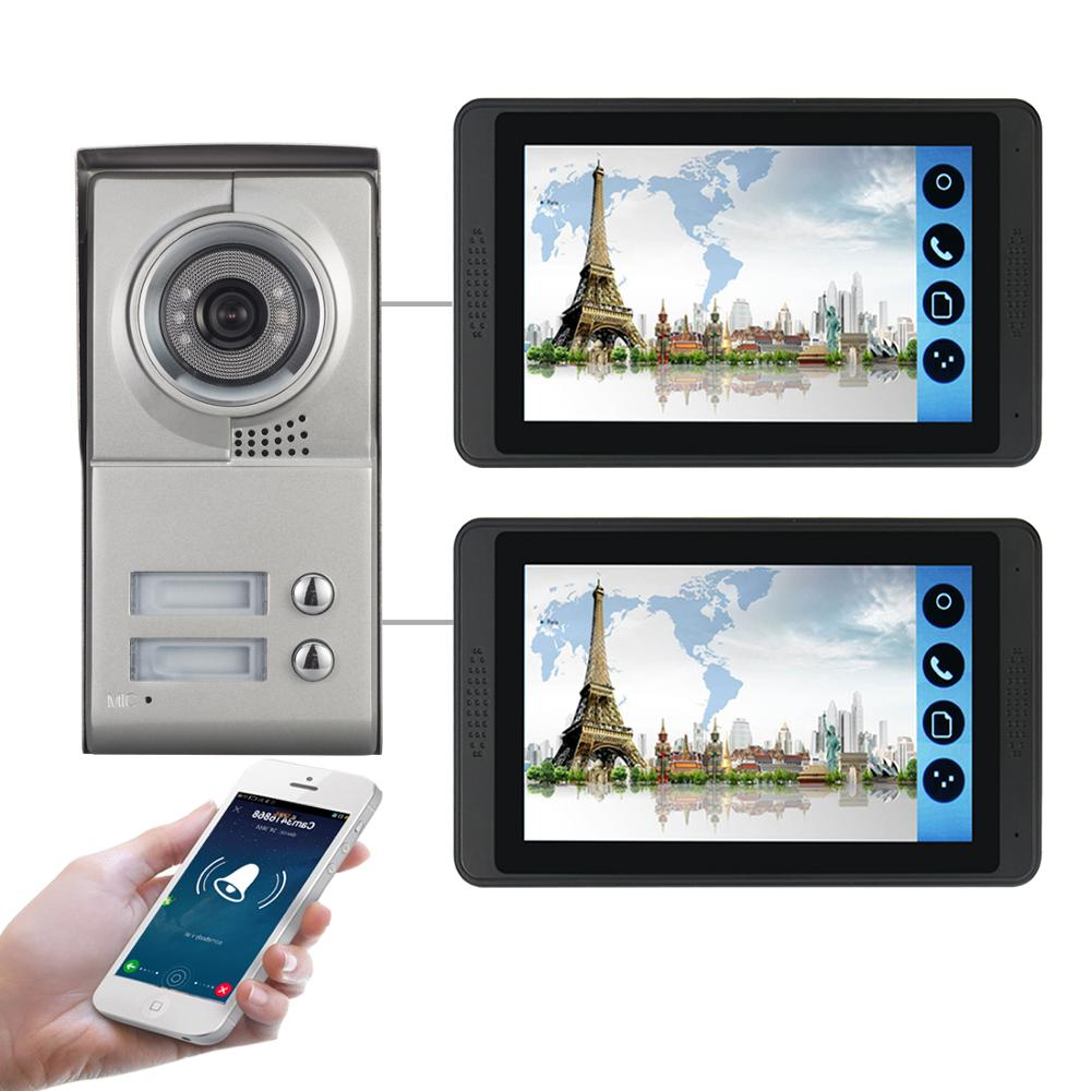 Video Intercom 7 Inch LCD Wifi Wireless Video Door Phone Doorbell Camera Intercom KIT Android Ios APP Control For 2 Apartment