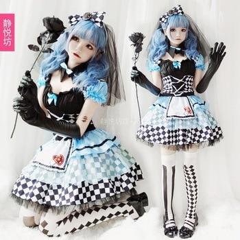 Halloween Costume Adult Girl Alice Maid Silk Vampire Clown Costume Loli Lolita Puff Dress Princess sweet lolita dress Women's Clothing & Accessories cb5feb1b7314637725a2e7: Full Set|only Socks