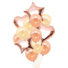 14Pcs/set 12inch rose gold Latex Balloon with 18inch Star Heart Foil Balloons Wedding Decoration Happy Birthday Party Supplies 14pcs 12inch 18inch heart star shape balloon proposal engagement wedding birthday party decoration supplies