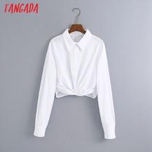 Tangada女性弓白作物シャツチュニック長袖固体ターンダウン襟ショートブラウス6Z78