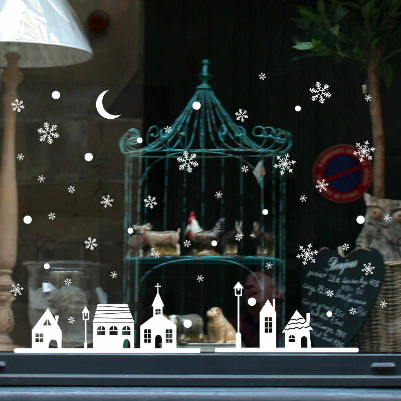 Merry Christmas Background Bedroom Wall Stickers Wallpaper Decoration Window Decoration Wall Stickers Christmas Snowflakes Town