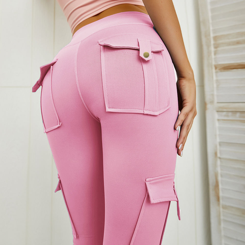 High Waist Skinny Cargo Pants Women Fitness Pocket Leggings Hip Pocket Pink Booty Leggings Push Up Workout Skinny Trousers