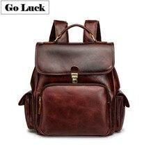 GO-LUCK Brand Genuine Leather Handmade Computer Backpack Men Women Double Shoulder Bag Unisex Casual Travel Day Packs