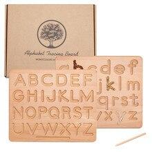 Montessori traçando placa de madeira dupla face uppercase & letras minúsculas fino motor habilidades desenvolvimento brinquedo educacional