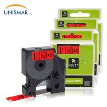Unismar 3 шт. Dymo D1 ленты 43617 черный на красном 6 мм* 7 м ленты кассеты для DYMO LabelManager LM 160 280 450 LabelWriter LabelMaker