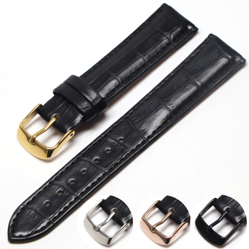 Hight Quality 20mm Watch Band Leather 22mm Men Women Brown Waterproof Watch Strap 16mm Genuine Steel Buckle Black 18mm Watchband