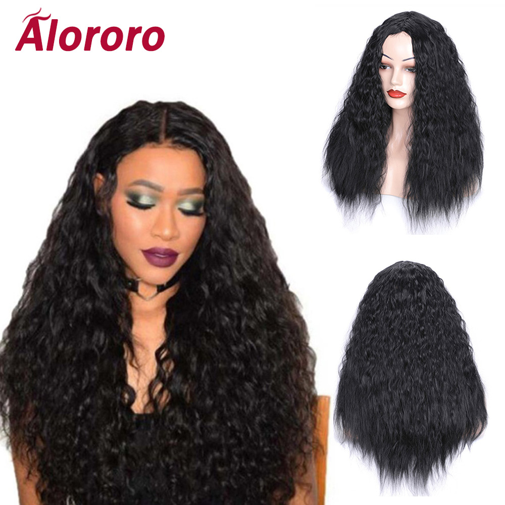 Alororo 24inch New Style Natural Black Long Curly Hair Wig 9