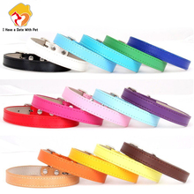 Hot!Pet Product Soft Leather Dog Collar Adjustable Puppy Cat Necklace Leash Strap for Small Medium Big Dog 16 Color Pet Supplies
