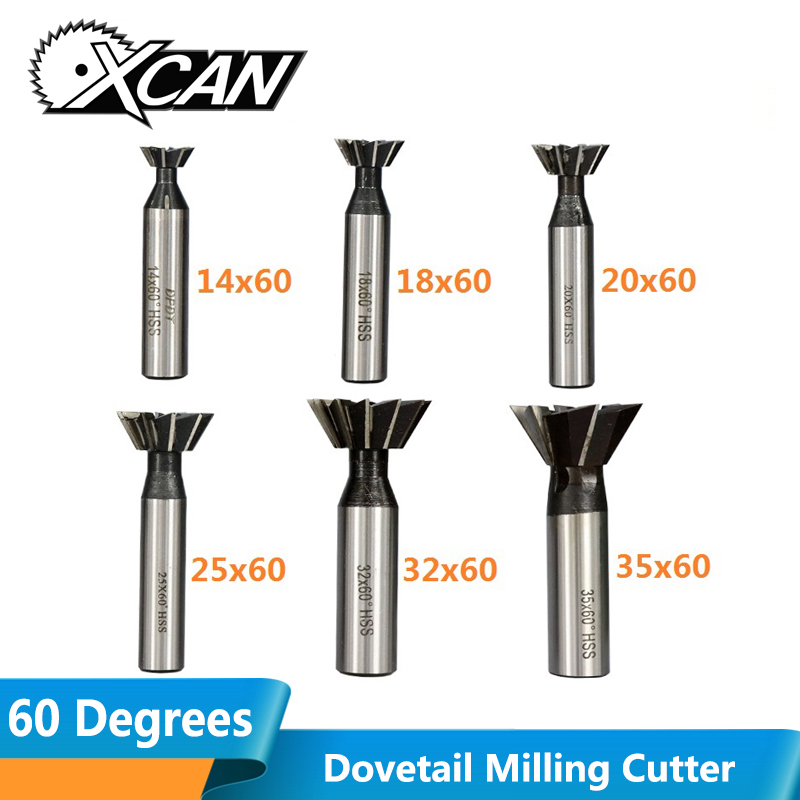 XCAN 60 Degrees Straight Shank Dovetail Milling Cutter HSS End Mills Dovetail Router Cutters End Mills