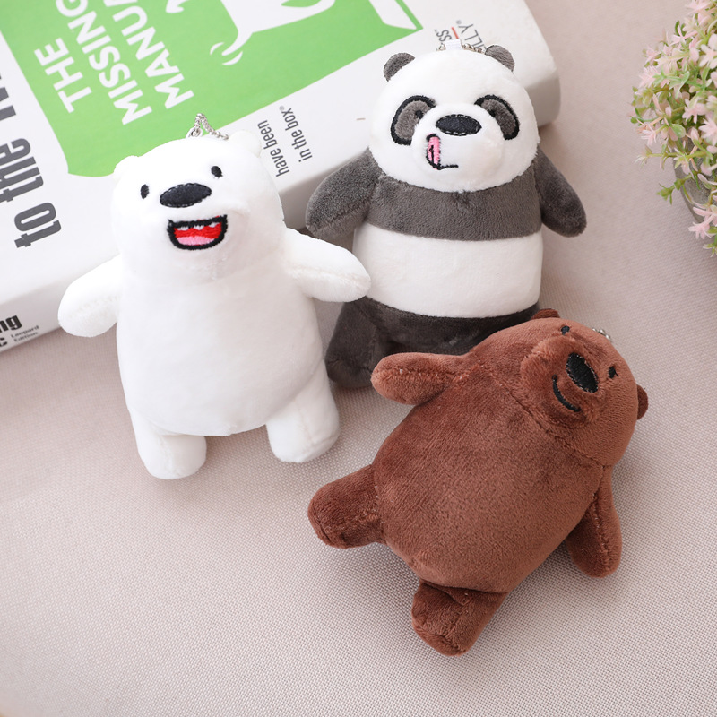 Kawaii 3 Styles Bare Bears Plush Toy Cartoon Bear Stuffed Grizzly Gray White Bear Panda Doll Kids Girl Love Birthday Gift