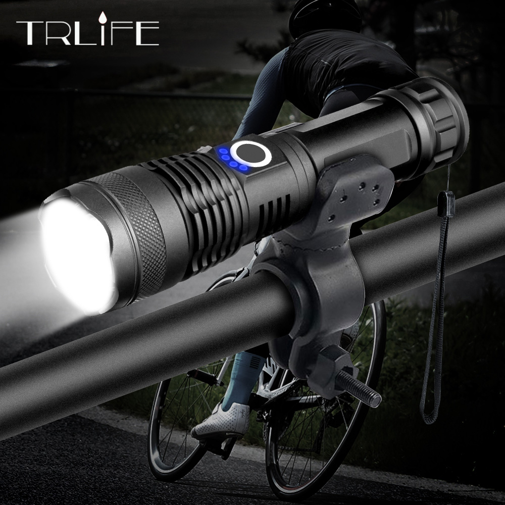 20000LM XHP50 LED Bicycle Flashlight Most Powerful USB Rechargeable USB Zoom Bike Light Torch 18650 26650 for outdoor Bike Light