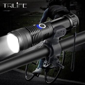 Светодиодный велосипедный фонарь XHP50 20000LM, самый мощный USB Перезаряжаемый зум-светильник фонарь для велосипеда 18650 26650, уличный велосипедный ...