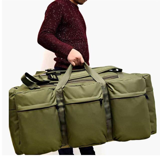 90L Large Capacity Men's Travel Bags Canvas Military Tactical Backpack Waterproof Hiking Climbing Camping Rucksack Bags XA216K 1
