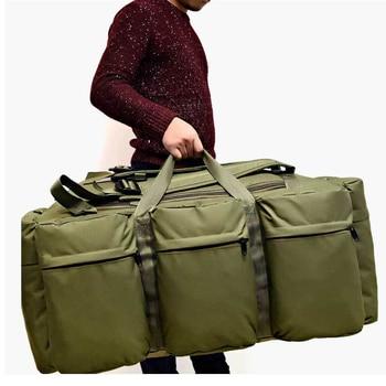 90L Large Capacity Men's Travel Bags Canvas Military Tactical Backpack Waterproof Hiking Climbing Camping Rucksack Bags XA216K 1000d tactical backpack military 50l nylon large capacity rucksack mochila for men outdoor travel hiking hunting camping man bag