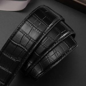 Image 2 - بيسون الدينيم جلد أصلي للرجال حزام التلقائي سبيكة الماس مشبك حزام من الجلد الفاخرة للذكور جودة عالية N71507