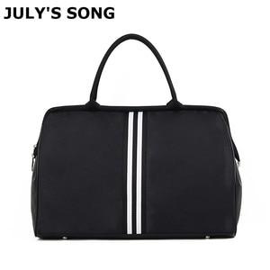 JULY'S SONG Waterproof Travel Bag Large Capacity Weekend Foldable Duffle Bag Men Women Stripe Handbag For Trip Supplies