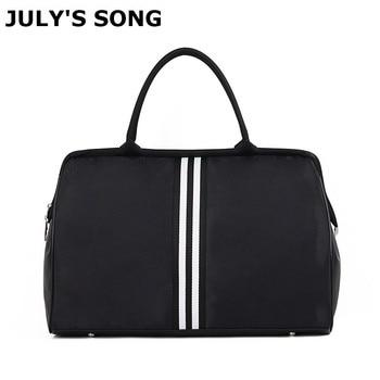 JULY'S SONG Waterproof Travel Bag Large Capacity Weekend Foldable Duffle Men Women Stripe Handbag For Trip Supplies - discount item  30% OFF Travel Bags