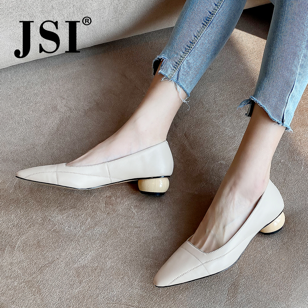 JSI Pointed Toe Women Pumps Office High Quality Cow Leather Shallow Slip-On Handmade Shoes Comfortable Career Ladies Pumps JO481
