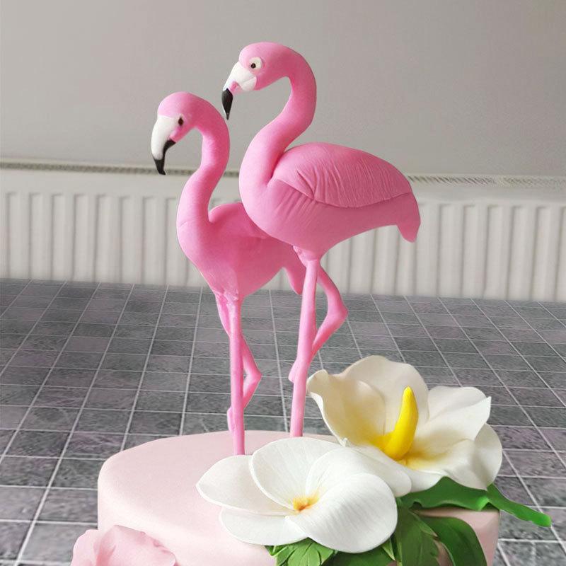 Pink Flamingo Cake Topper Tropical Party Summer Flower Girl Birthday Wedding Decor Flamingo Gifts Hawaii Hawaiian Party Decor