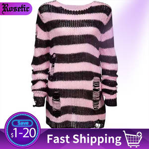Knitted Sweater Jersey Jumpers Ripped Gothic Striped Winter Plus-Size Women Long-Pullovers