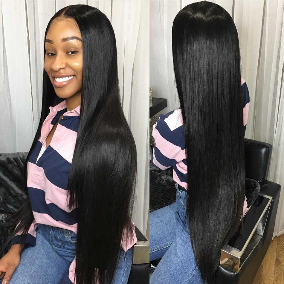 Luvin 200 gęstości 28 30 Cal prosto 13x6 Glueless koronki przodu włosów ludzkich peruk czarnych kobiet brazylijski Frontal peruka wstępnie oskubane