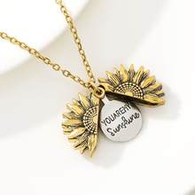 2020 Antique Gold Silver Open Locket Necklace Engraved You Are My Sunshine Sunflower Pendant Necklace Unique Party Jewelry Gift(China)