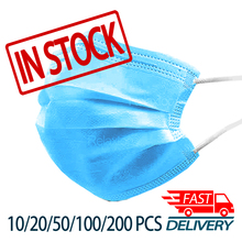 10/20/50/100/200 PCS Disposable Face Mask For Adult Mouth Protection Anti Dust Gas Masks 3 Layers Non Woven with Filter Facemask
