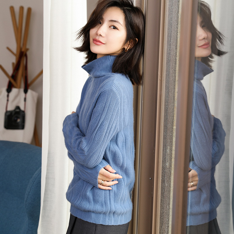 Clearance SaleTurtleneck Sweater Jacket Long-Sleeve Knitted Korean Womens Winter Woman New And Half