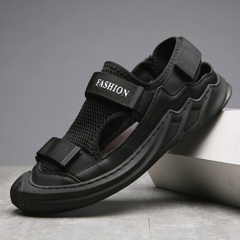 Baotou leather hollow sandals wading shoes men's shoes non-slip breathable lightweight neutral shoes