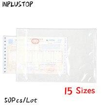 50 pçs/lote Sacos De Plástico Transparente Mochila Saco Conta Única Factura de Papel Tamanho Da Embalagem Adesivos Saco Mailing Envelopes de Correio