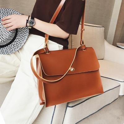 New High Quality PU Leather Women Designer Handbag Retro Fashion Female Casual Bag Ladies Briefcase Tote Shoulder Messenger Bag