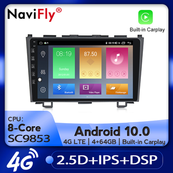 NaviFly Car Radio Multimedia video player GPS navigation Android 10.0 4GB+64GB for Honda CRV CR-V 3 RE 2006-2012 N0 2 din DVD image