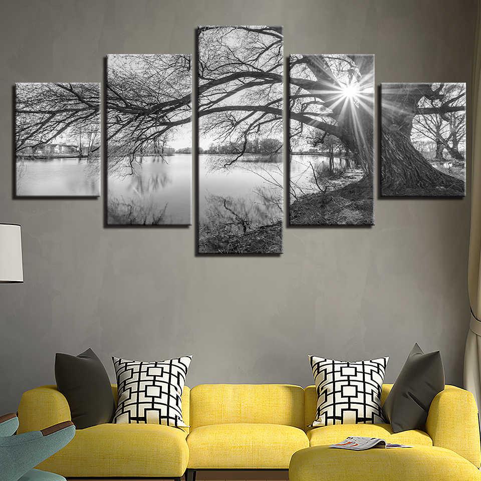 5 шт., большие деревья на озере, картины на холсте, картины для гостиной, настенные художественные плакаты, рамка, черный, белый, домашний декор с пейзажем