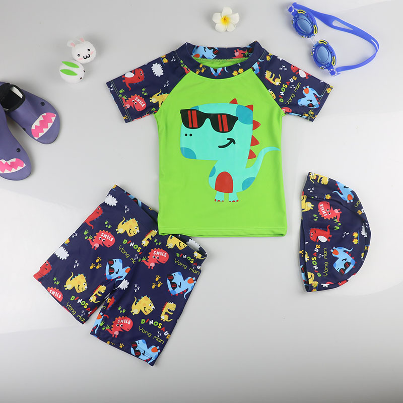 KID'S Swimwear BOY'S Split Type Dinosaur Quick-Dry Swimwear Baby Big Boy Sun-resistant Swimming Trunks Hot Springs Clothing Cute