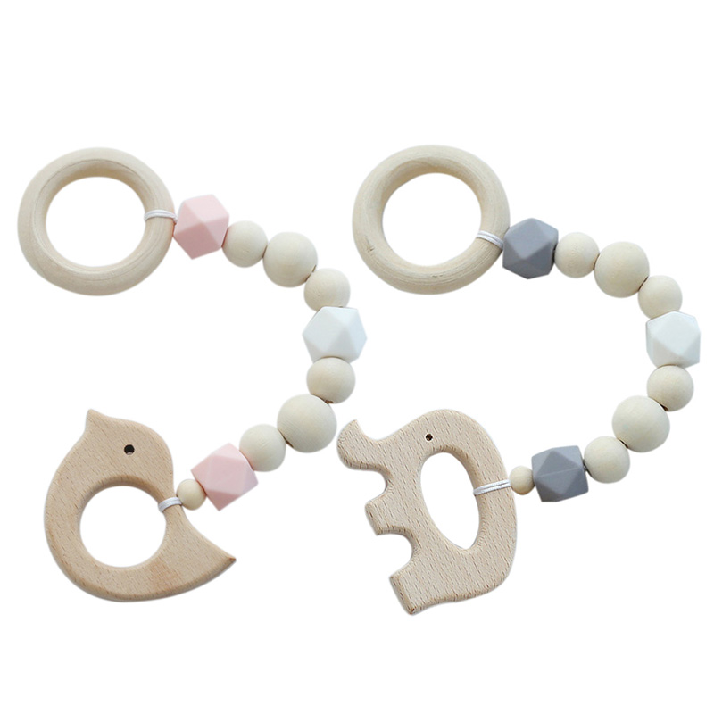 2 Pcs Ins Nordic Style Wooden Beads Ornament Kids Toys For Baby Bird Shaped Wood Room Nursery Tent Hanging Decor Photo Props , S