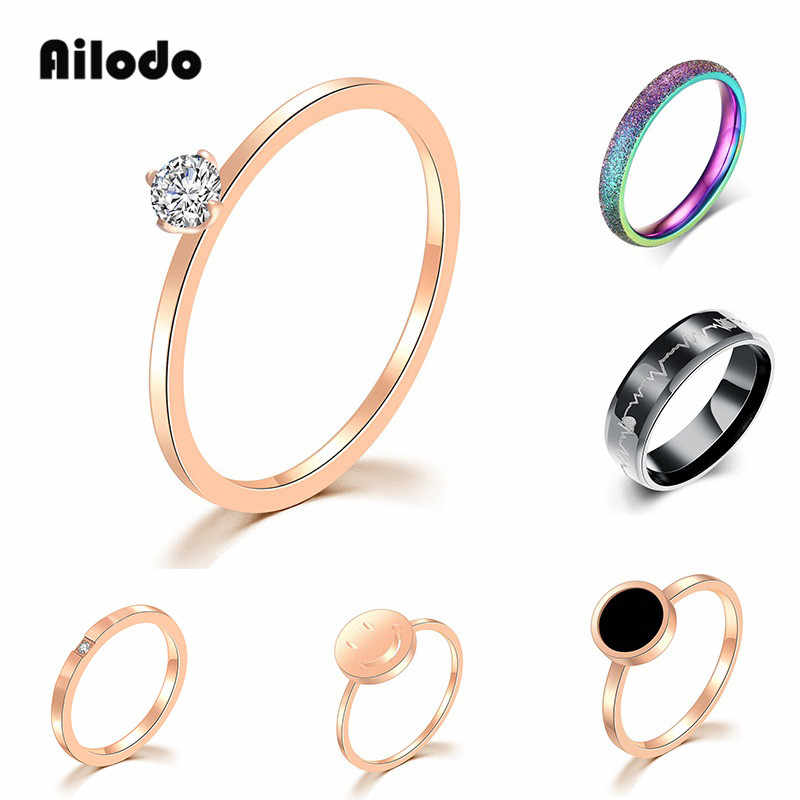 Ailodo Simple Engagement Wedding Rings For Women Never Fade Stainless Steel Rings Party Wedding Fashion Jewelry Girls Gift LD405