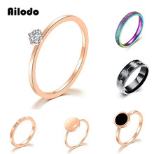 Ailodo Simple Engagement Wedding Rings For Women Never Fade Stainless Steel Party Fashion Jewelry Girls Gift LD405