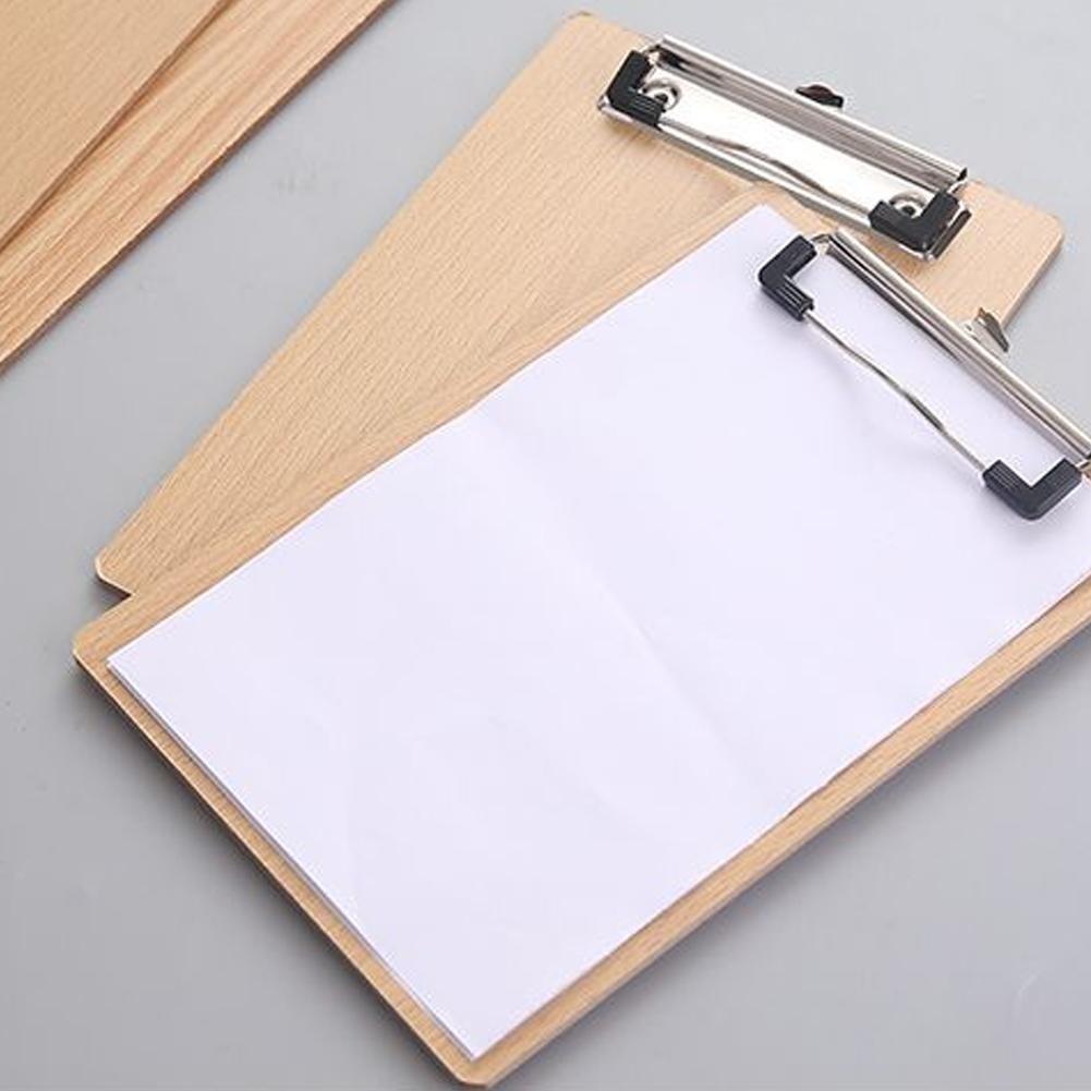 Office Creative Wooden Board Clamp A4 Random Document Bag File Folder Clipboard Business Office Financial School Supplies