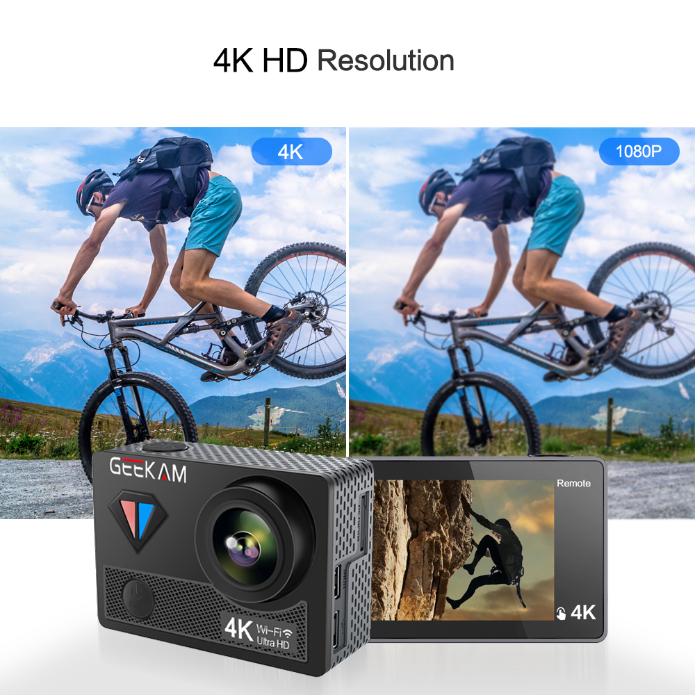 Image 5 - GEEKAM Action Camera T1 Touch Screen Ultra HD 4K/30fps 20MP WiFi Underwater Waterproof Bicycle Helmet Extreme Sports Video Cam-in Sports & Action Video Camera from Consumer Electronics