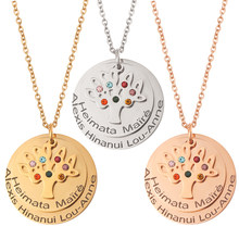Personalized Necklace Laser Engraved Names Letters Custom Necklace for Women Tree of Life with 7 Colour crystal Month Stone(China)