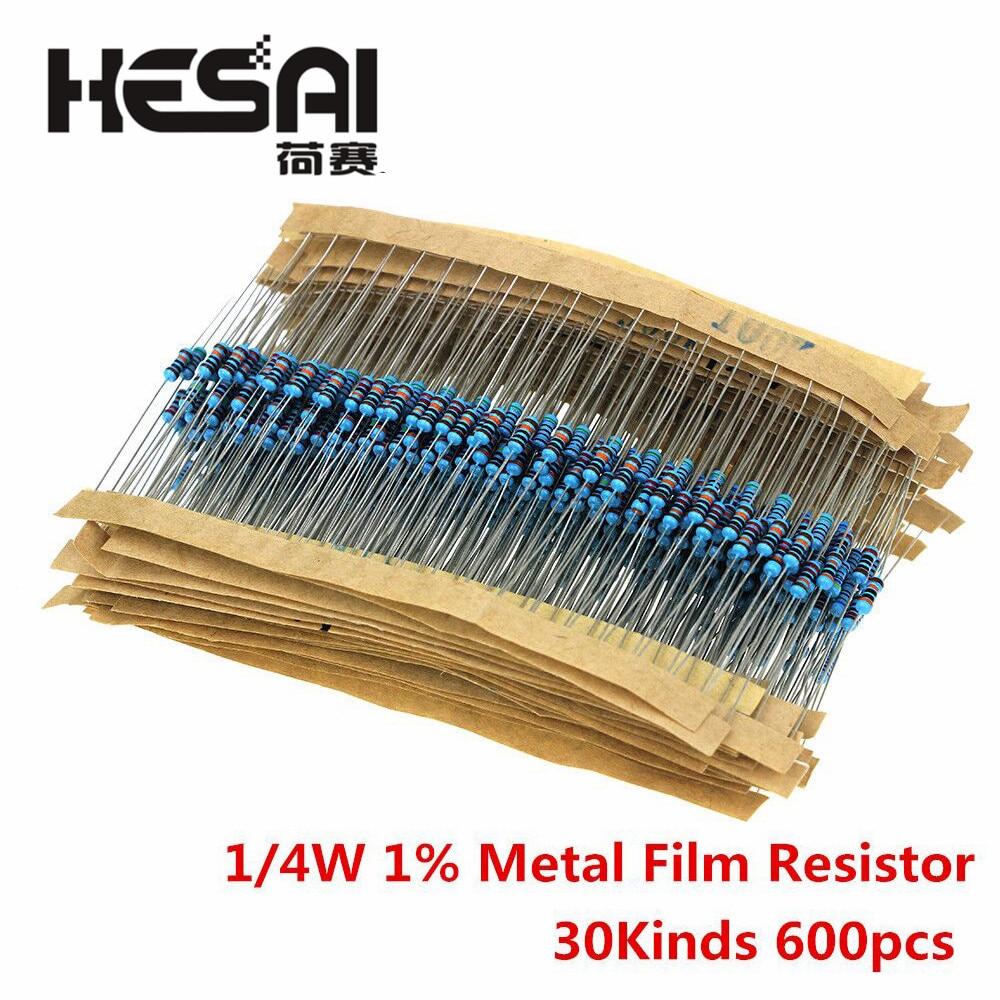Набор металлических пленочных резисторов 100 шт./компл. 1/4 Вт в ассортименте, 1K 2K 1% K 10K 4,7 K 100K 220 Ом 1 м резисторы