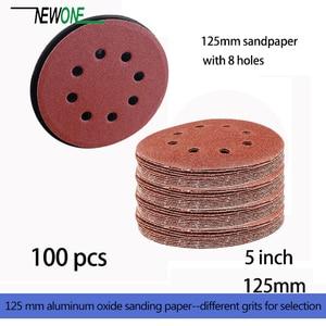 Image 2 - 100Pcs 125Mm Klittenband Schuurpapier 5 Inch Rode Schuren Disc Met 8 Gaten Grits 40 ~ 3000 Beschikbaar