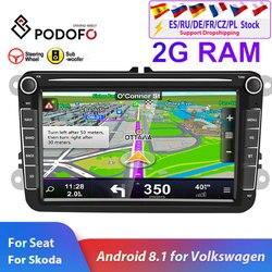 Podofo 2din автомобильное радио Android 8,1 для VW/Volkswagen/Golf/Polo/Passat/b7/b6/SEAT/leon/Skoda 8 дюймов 2 DIN GPS Wifi SD Авто Стерео