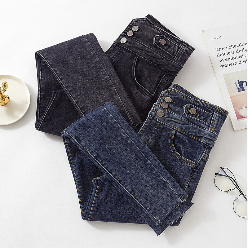 2020 New Woman Skinny Jeans High Waist Three Button Black Denim Pencil Pants For Woman Korean Chic Fashion Long Jean Female