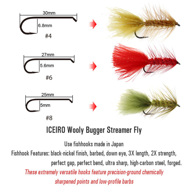 Best ICERIO 6PCS Wooly Bugger Streamers Fishing Fly Lures Fishing Lures cb5feb1b7314637725a2e7: 6PCS Black|6PCS Brown|6PCS Olive|6PCS Red|6PCS White
