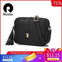 REALER piccola borsa a tracolla per le donne borse a tracolla delle signore retro DELLUNITÀ di elaborazione di cuoio della borsa della borsa con nappe femminile crossbody bag
