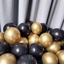 30 шт. цвета: золотистый и черный металл латексные воздушные шары на день рождения вечерние украшения для взрослых и детей воздушные шары гел...