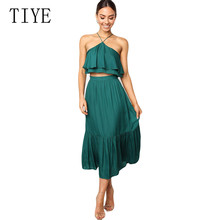 TIYE New Hot Summer Two Pieces Sets Dress Women Sexy Off Shoulder Ruffles Top + Skirts Female Casual Holiday Hollow Out Outfits
