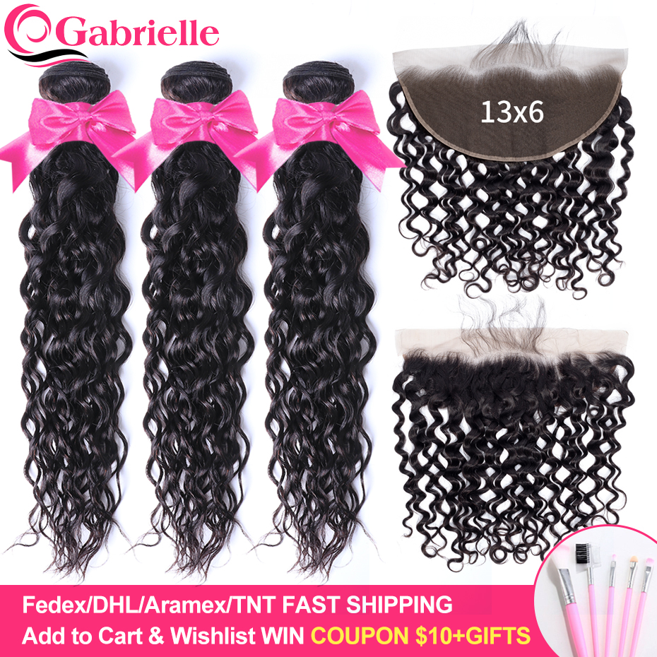 Gabrielle Water Wave Bundles with Frontal 100% Human Hair 13x6 Lace Frontal with Bundles Brazilian Hair Weave Remy Hair Bundles-in 3/4 Bundles with Closure from Hair Extensions & Wigs    1